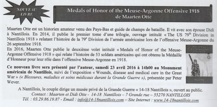Introduction 'Medas of Honor in the Meuse-Argonne 1918'